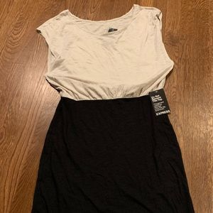 Express Cream Top Black Skirt Medium Dress